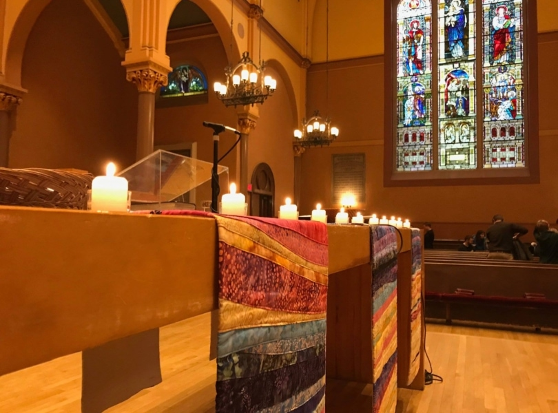candles on a communion table