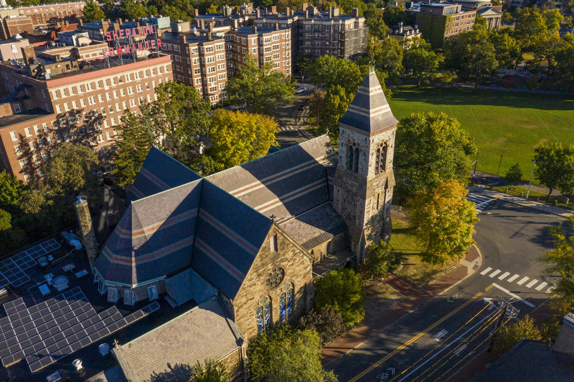An aerial view of First Church Cambridge in Harvard Square