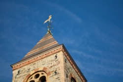The tower of First Church Cambridge showing its rooster weathervane against a blue sky