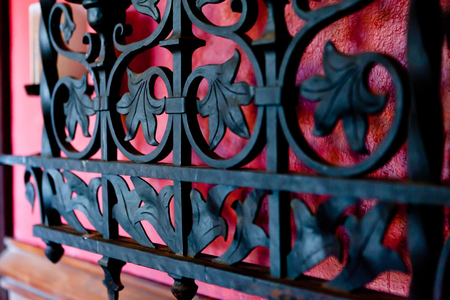 Finely detailed wrought iron grate