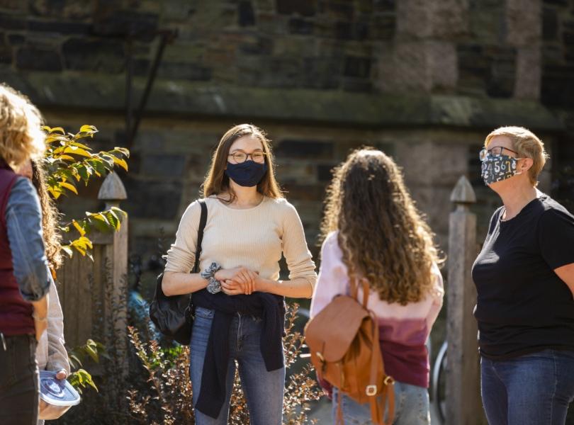 Teenagers talking outside
