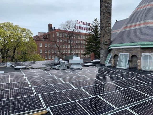 solar panels on a church roof